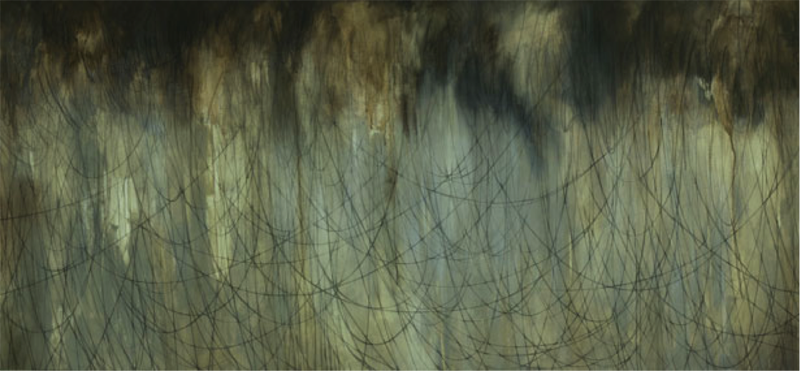 Float, 70x150cm, charcoal and acrylic on canvas, 2011