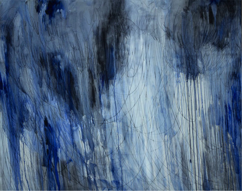 Flow, 120x150cm, charcoal and acrylic on canvas, 2011