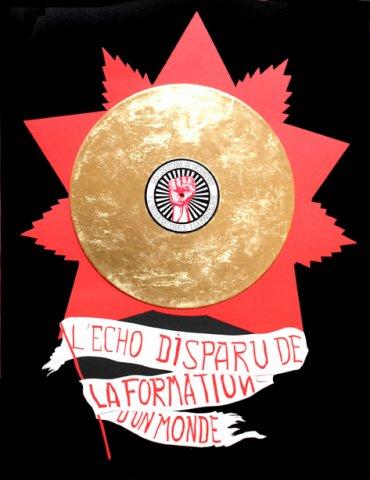 Un petit écho disparu de la formation d'un monde, 2012 Feutres et feuille d'or  50 x 65 cm  (Collection particulière)