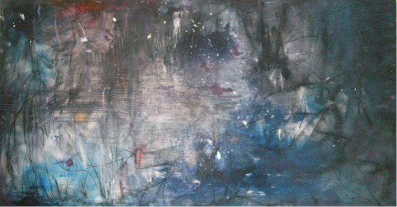 Untitle,Charcoal and Oil on Canvas,85 × 160 cm.,2013