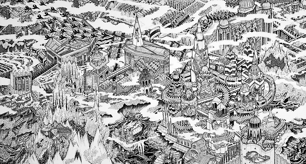 32.KWANCHAI LICHAIKUL, Cities and Armies, 2012, Ink on canvas, 135  x 250  cm.ES