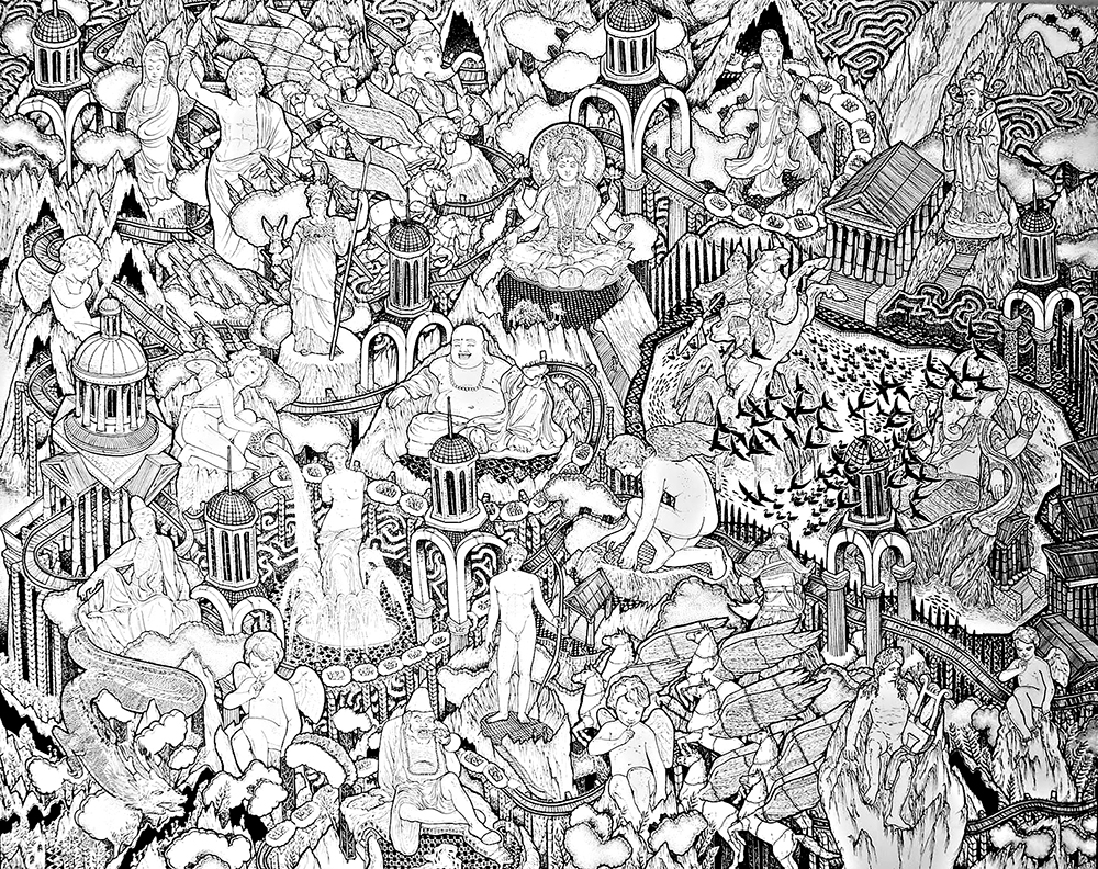 37.KWANCHAI LICHAIKUL, Sculpture Garden , 2013, Ink on canvas, 200  x 250  cm.ES