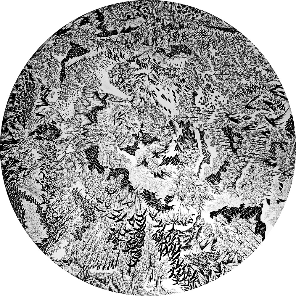 38.KWANCHAI LICHAIKUL, Topview , 2014 ,Ink on canvas, Diameter 257  cm.ES