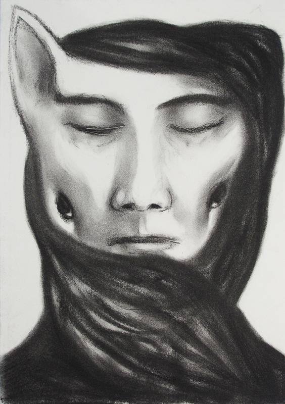 Estrangement Between Us 6, charcoal on paper, 21x29.7, 2011